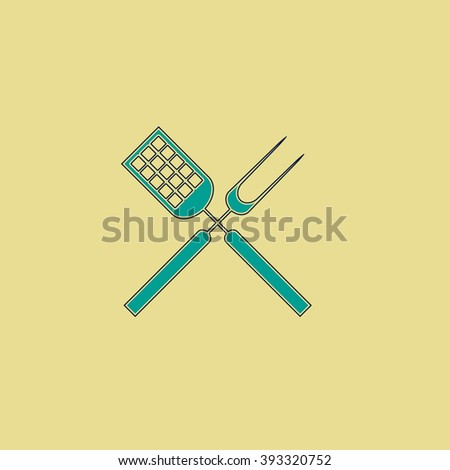 Cutters Flat line icon on yellow background. Vector pictogram with stroke - stock vector