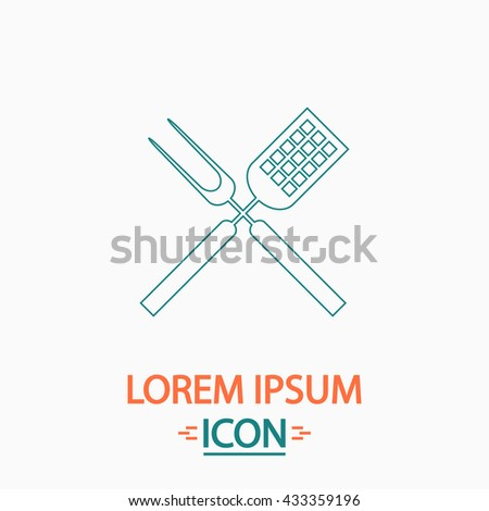 Cutters Flat thin line icon on white background. Vector pictogram - stock vector