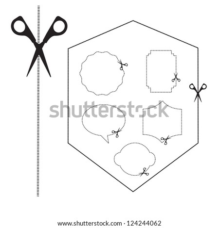 cutting areas with scissors on white background. vector - stock vector