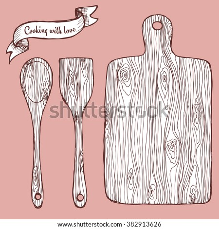 Cutting board with spoon and ribbon in vintage style, vector - stock vector