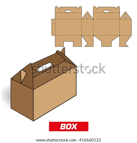 cutting box with handle - stock vector