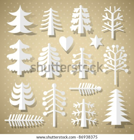 Cutting Christmas trees of white paper - stock vector