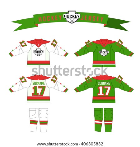 Cutting fabric for hockey form. Hockey jersey. Template design  hockey equipment. hockey sweater and socks. Form for hockey team with logo - puck and crossed sticks. Red, green and white gamma colors - stock vector