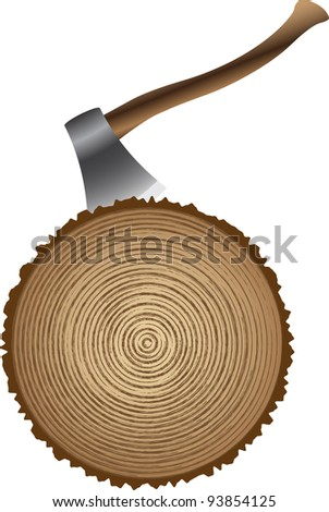 cutting wood with an ax - stock vector
