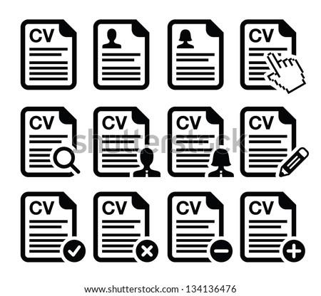CV - Curriculum vitae, resume vector icons set - stock vector