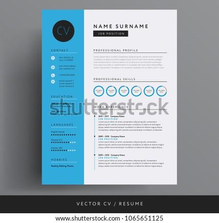 cv resume design template blue color stock vector 1065651125