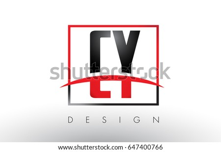 CY C Y Logo Letters with Red and Black Colors and Swoosh. Creative Letter Design Vector.
