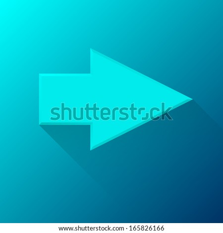 Cyan (blue) abstract right arrow sign with flat designed shadow and light background for internet sites, web user interfaces (ui), applications (apps) and business presentations. Vector illustration.