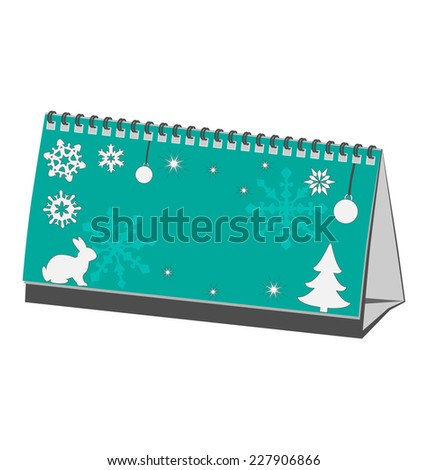 Cyan Christmas calendar with rabbit with pine with snowflakes isolated on white background - stock vector
