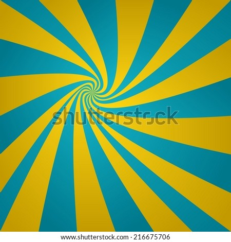 Cyan golden twirl background - vector version - stock vector