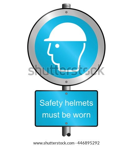 Cyan mandatory construction manufacturing and engineering health and safety hard hat sign to current British Standards mounted on post isolated on white background