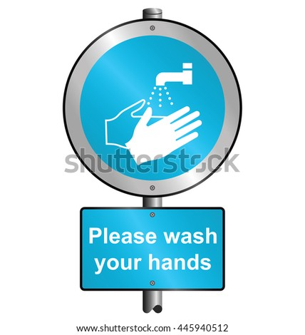 Cyan mandatory health and safety please wash your hands sign to current British Standards mounted on post isolated on white background