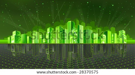 Cyber city (other landscapes are in my gallery) - stock vector