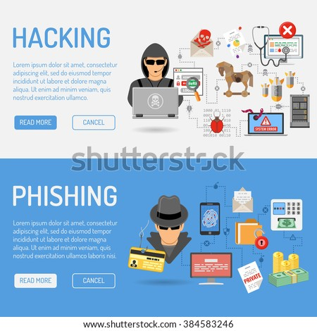 Cyber Crime Banners for Flyer, Poster, Web Site, Printing Advertising Like Hacker and Social Engineering. - stock vector