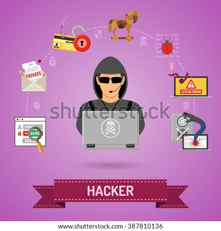 Cyber Crime Concept for Flyer, Poster, Web Site, Printing Advertising Like Hacker, Virus, Bug, Error, Spam and Social Engineering. - stock vector