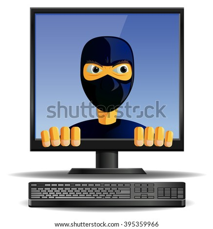 Cyber criminal inside the computer monitor vector illustration