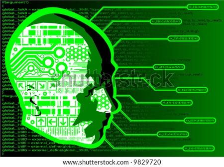 Cyber head - stock vector