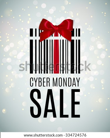 Cyber monday background with Present barcode. Sale concept. Vector illustration - stock vector