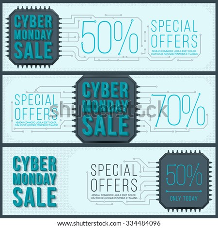 Cyber Monday banner design. Monday sale. Web elements with banners and discounts.  - stock vector