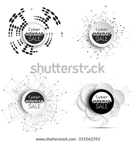 Cyber monday banners set, noir style elements for your design, vector illustration. - stock vector