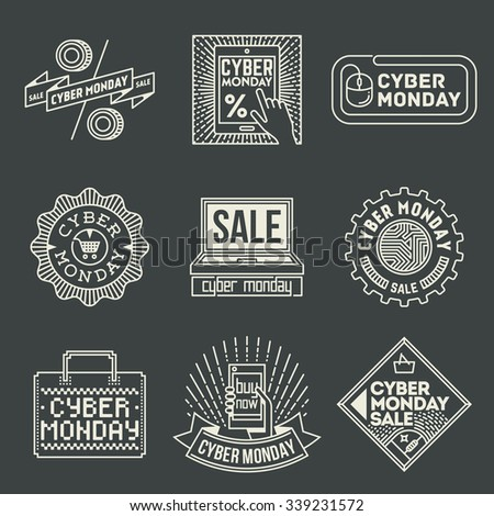 Cyber Monday Insignias Logotypes Template Set. Line Art Vector Elements. - stock vector