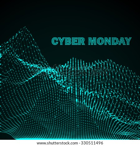 Cyber Monday Promotional Poster. 3D illuminated distorted shape of glowing particles and wireframe. Futuristic vector illustration. HUD element. Technology digital splash or explosion concept - stock vector