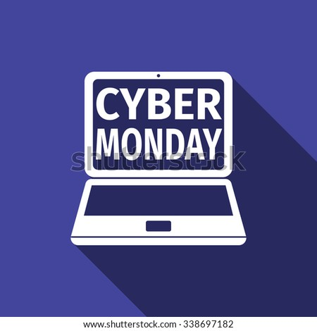 Cyber Monday sale design with Laptop icon with long shadow. Vector illustration - stock vector