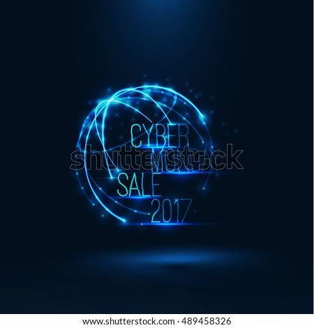 Cyber monday sale 2017 illustration . Big global sale . Geometric technology shape of glowing particles . Vector background . Technology poster with glitch effect