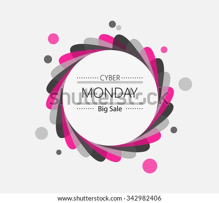 Cyber monday sale inscription circle design template. Vector illustration - stock vector