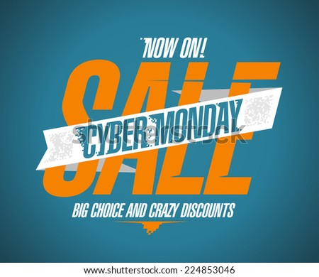 Cyber monday sale now on banner. - stock vector