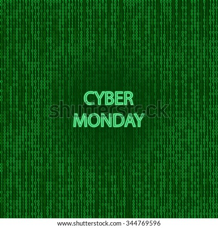 Cyber monday sale symbol and online sales concept as an internet holiday celebration for product discounts on websites on binary background. - stock vector