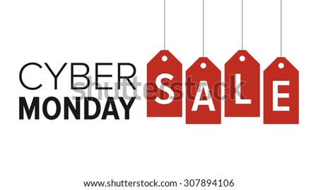 Cyber Monday sale website display with red hang tags vector promotion - stock vector