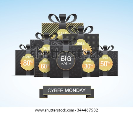 Cyber monday shopping card design, with black gift boxes and golden discount labels. - stock vector