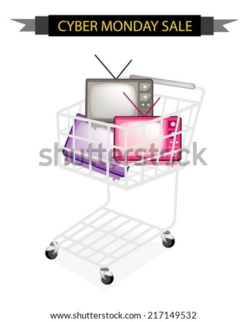 Cyber Monday Shopping Cart Full with Various Colors of Retro Television for Black Friday Shopping Season and Biggest Discount Promotion in A Year.  - stock vector