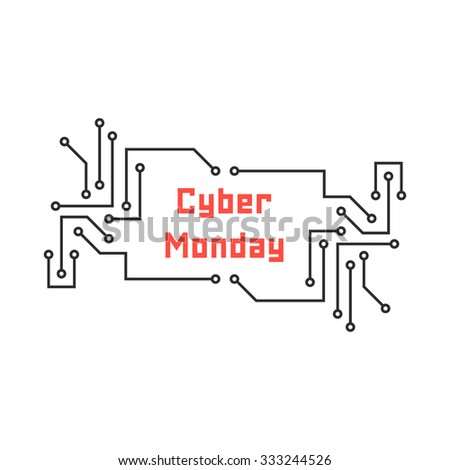 cyber monday with pcb elements. concept of black friday sale, motherboard, shopping, cheap, special offer. isolated on white background. flat style trend modern logo design vector illustration - stock vector