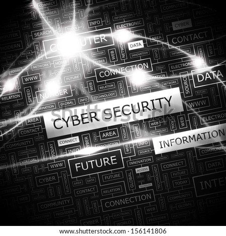 CYBER SECURITY. Background concept wordcloud illustration. Print concept word cloud. Graphic collage with related tags and terms. Vector illustration.  - stock vector