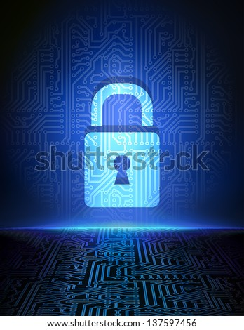 Cyber security concept background. - stock vector