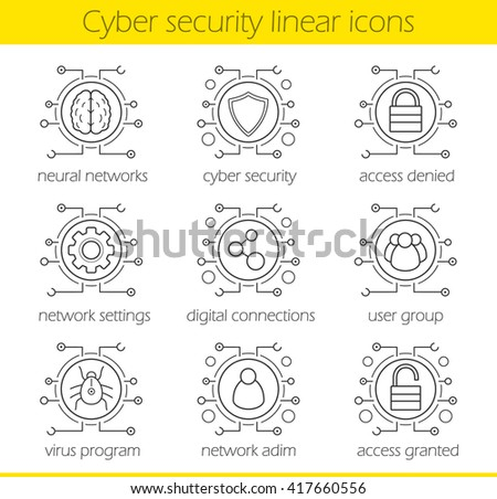 Cyber security linear icons set. Digital technology and cloud computing concepts. Neural networks, access, settings, digital connections, admin, user, virus. Thin line. Isolated vector illustrations - stock vector