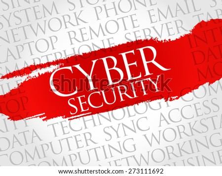 Cyber Security word cloud concept - stock vector