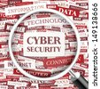 CYBER SECURITY. Word cloud concept illustration. Graphic tag collection. Wordcloud collage with related tags and terms.  - stock vector