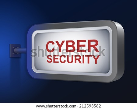 cyber security words on billboard over blue background - stock vector