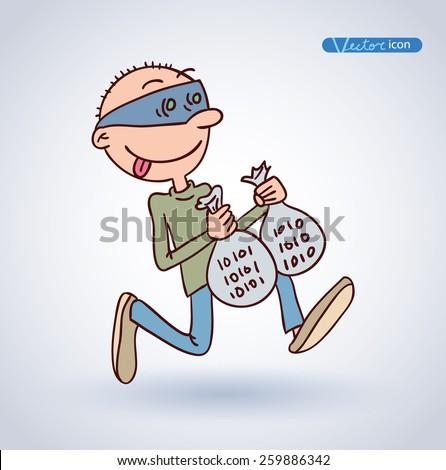 Cybercrime, Thief Hacking, vector illustration. - stock vector