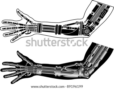 cybernetic hand with stencil. second variant. vector illustration - stock vector