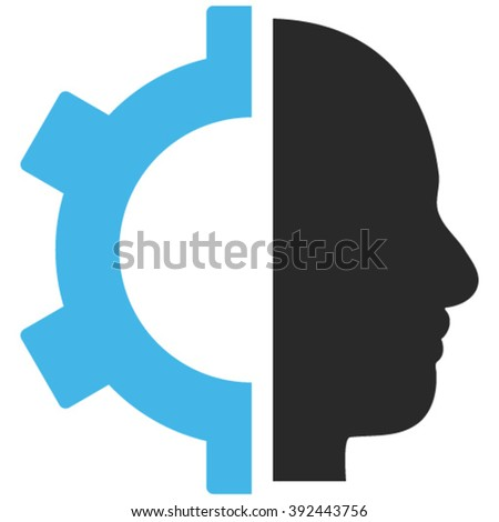 Cyborg Gear vector icon. Image style is bicolor flat cyborg gear pictogram drawn with blue and gray colors on a white background.
