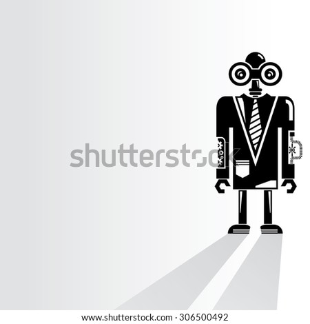 cyborg, robot on white background, vector - stock vector