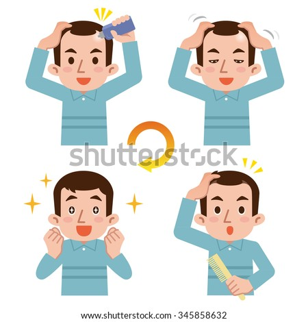 Cycle of male hair growth - stock vector