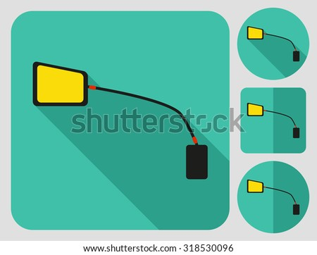 Cycle rear view mirror icon. Bike accessories. Flat long shadow design. Bicycle icons series. - stock vector