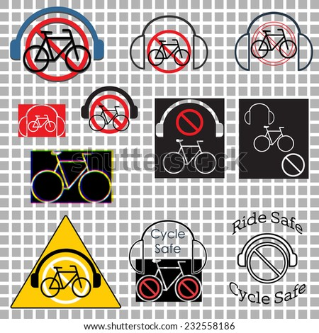 Cycle safety, Ride without headphones graphics set - stock vector