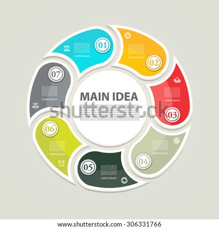 Cyclic diagram with seven steps and icons. eps 10 - stock vector