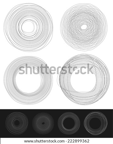 Cyclic random circles, abstract elements in black and white - stock vector